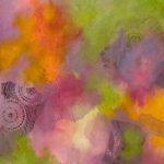 ÉTÉ FLEURI - Acrylique et techniques mixtes sur toile - 24 x 24 po / 61 x 61 cm