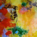 L'HEURE DU CONTE - Acrylique et techniques mixtes sur toile - 24 x 24 po / 61 x 61 cm (non disponible)