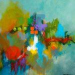 ENTHOUSIASME - Acrylique et techniques mixtes sur toile - 24 x 24 po / 61 x 61 cm