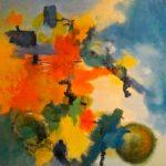 DISCUSSION - Acrylique et techniques mixtes sur toile - 24 x 24 po / 61 x 61 cm