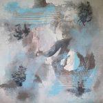 INSTANT PRÉSENT - Acrylique et techniques mixtes sur toile - 24 x 24 po / 61 x 61 cm